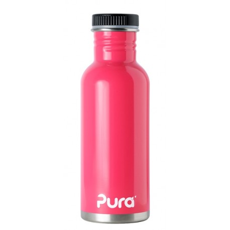 Pura Kiki Stainless Steel Water Bottle with Flat Cap - Pink