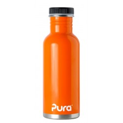 Pura Kiki Stainless Steel Water Bottle with Flat Cap - Orange