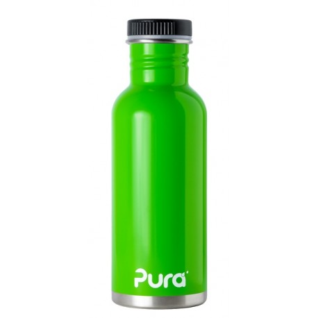Pura Kiki Stainless Steel Water Bottle with Flat Cap - Green