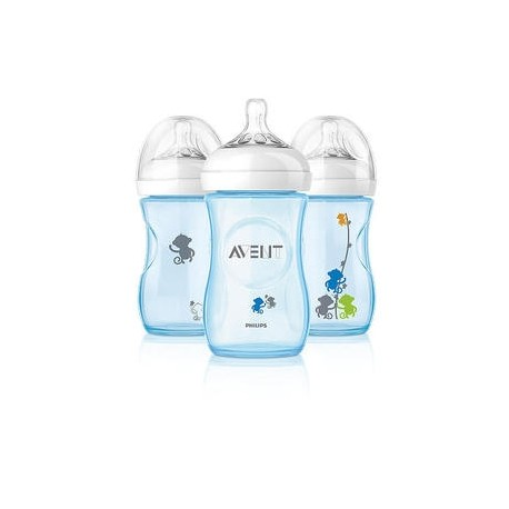 AVENT Natural 9 Oz Bottles Blue Monkey (3 Bottle Pack)
