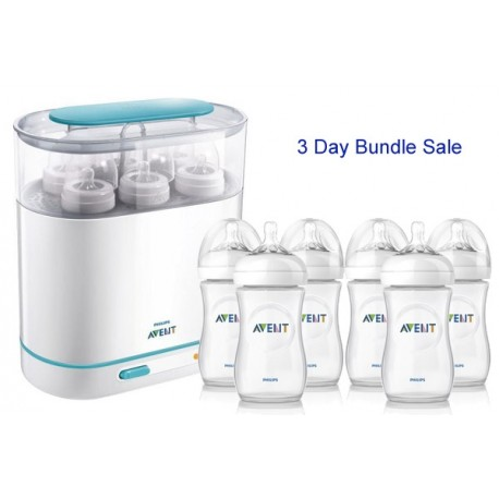 Bundle 1: Avent Sterilizer + 6 Avent Natural Range 9 Oz Bottles