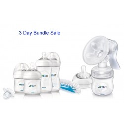 Bundle 4: Avent Natural Manual BreastPump + 6 Avent Natural Range 9 Oz Bottles
