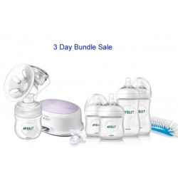 Bundle 4: Avent Natural Single Electric Breast Pump + 6 Avent Natural Range 9 Oz Bottles