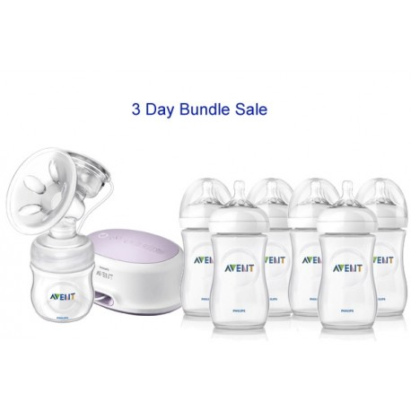 Bundle 6: Avent Natural Single Electric Breast Pump + 6 Philips Avent Natural Range 9oz Bottles