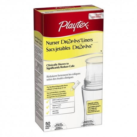 Playtex Expandable Drop-Ins Pre-Sterilized Diposable Liners 8-10oz, 50 pieces