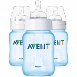 Philips AVENT BPA-Free 9-Ounce Natural Feeding Bottles (3 pack), BLUE