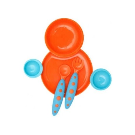 Boon Groovy and Modware Interlocking Plate and Bowl Set with Utensils - Orange / Blue