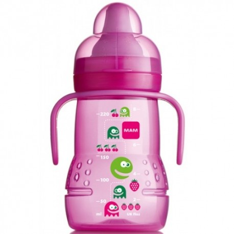MAM Trainer Bottle Monster Design Spout Sippy Toddler Cup - Pink