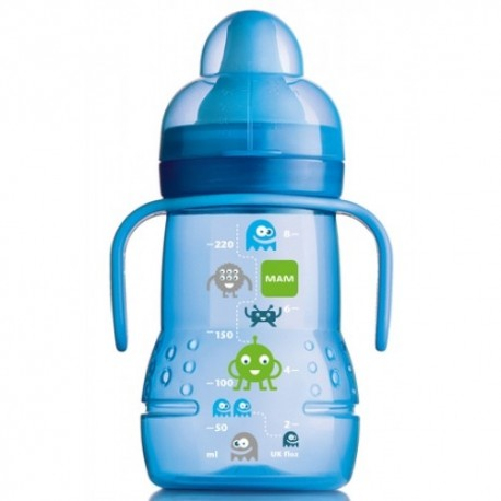 MAM Trainer Bottle Monster Design Spout Sippy Toddler Cup - Blue