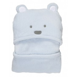 Bear Hooded Coral Fleece Soft Blanket - Blue
