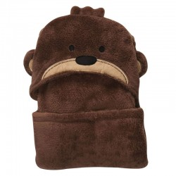 Bear Hooded Coral Fleece Soft Blanket - Brown