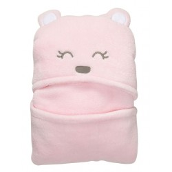 Bear Hooded Coral Fleece Soft Blanket - Pink