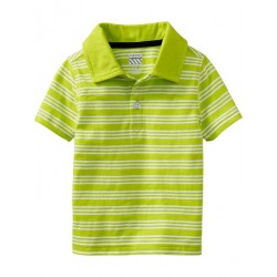 Old Navy Striped Jersey Polo Shirt, Lime Rickey