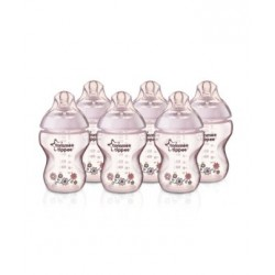 Tommee Tippee Closer to Nature Decorated Easivent 9 oz Pink, 6 Bottle Pack Bottles