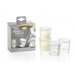 Tommee Tippee Closer to Nature Breast Milk Storage Containers, 4 Pack