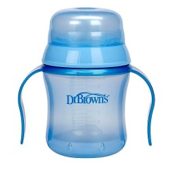 Dr Brown BPA Free Soft Spout Training Cup 6 oz - Blue