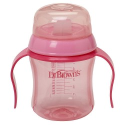 Dr Brown BPA Free Soft Spout Training Cup 6 oz - Pink
