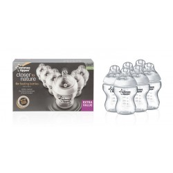 Tommee Tippee Closer to Nature Easivent 260ml / 9 oz Bottles (6 Bottles)