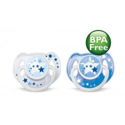 AVENT Nighttime Pacifier, 6-18 Months, 2 Pieces, Blue
