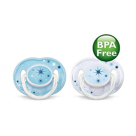 AVENT Nighttime Pacifier 0-6 Months, 2 Pieces, Blue