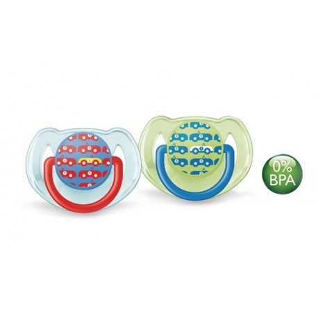 AVENT Fashion Soothers, 6-18 months, Cars