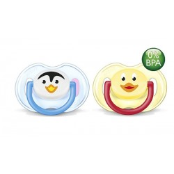 AVENT Animals Soother 0-6 months, 2 Pack, Penguin & Duck