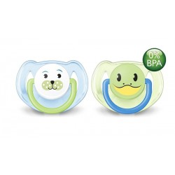 AVENT Animals Soother 6-18 months, 2 Pack, Dog & Frog