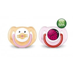 AVENT Animals Soother 6-18 months, 2 Pack, Cat & Ladybug