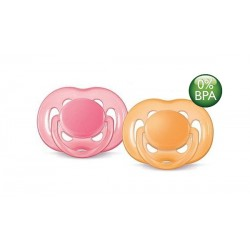 AVENT Freeflow Pacifier, 6-18 months Pink & Orange, 2 Pack
