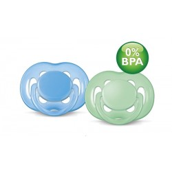 AVENT Freeflow Pacifier, 6-18 months Blue & Green, 2 Pack