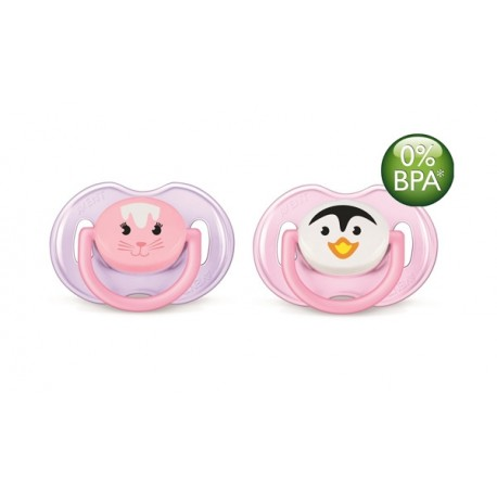 AVENT Animals Soother 0-6 months, 2 Pack, Penguin & Cat