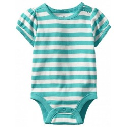 Old Navy Striped Bodysuits for Baby Girl, Aqua Stripe