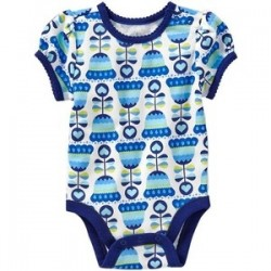 Old Navy Printed Bodysuits for Baby Girl, Blue Tulip