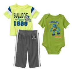 Garanimals Boys 3 Piece Creeper and Pant Set, Newborn