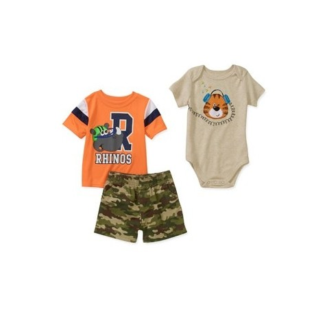 Garanimals Boy 3-Piece Creeper, Tee and Shorts Set