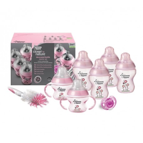 Tommee Tippee Decorated Bottle Starter Set, Pink