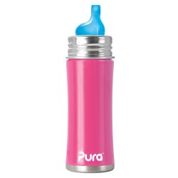 Pura Kiki 11 Oz Sippy Bottle with XL Sipper Spout, Pretty Pink