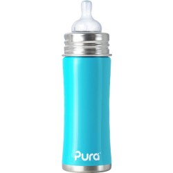 Pura Kiki 11oz Infant Bottle with Natural Vent Nipple, Aqua Blue