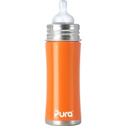Pura Kiki 11oz Infant Bottle with Natural Vent Nipple, Orange