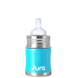 Pura Kiki Infant Bottle 5oz with Natural Vent Nipple, Aqua Blue