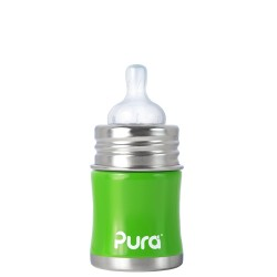Pura Kiki Infant Bottle 5oz with Natural Vent Nipple, Green