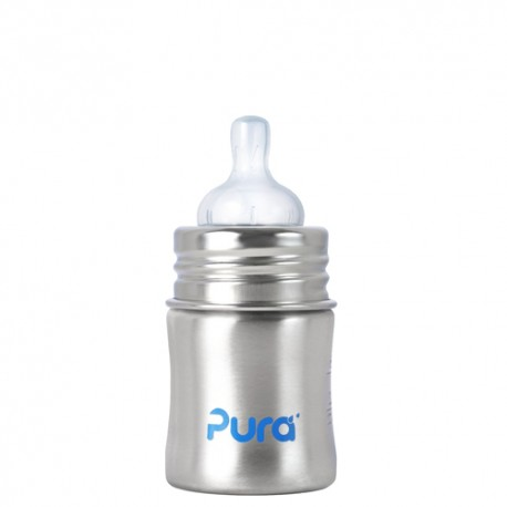 Pura Kiki Infant Bottle 5oz with Natural Vent Nipple, Natural