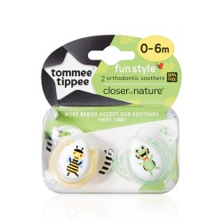 Tommee Tippee Fun Style Soothers 0-6 months, 2 pack