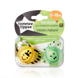 Tommee Tippee Fun Style Soothers 6-18 months, 2 pack