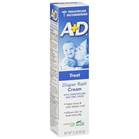 A+D Zinc Oxide Diaper Rash Cream with Aloe  1.5 oz (42.5 g)