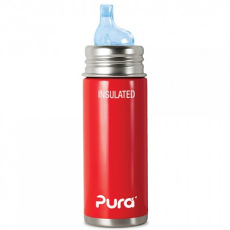 Pura Kiki Insulated Toddler Sippy Bottle 9oz, Red