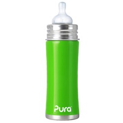 Pura Kiki 11oz Infant Bottle with Natural Vent Nipple, Green