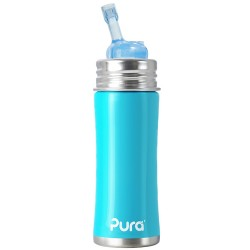 Pura Kiki Stainless Steel Straw Bottle, Aqua
