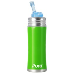 Pura Kiki Stainless Steel Straw Bottle, Green