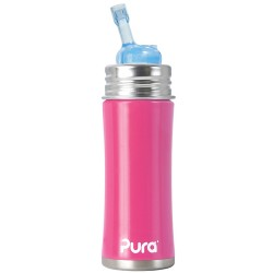Pura Kiki Stainless Steel Straw Bottle, Pink
